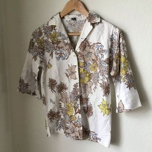 Vintage floral button down short sleeve shirt S